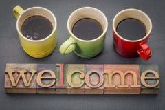 Välkommet underteckna in wood typ för tappning Royaltyfria Foton