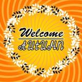 Välkomna Autumn Background Hösten lämnar Du kan förlägga din text i mitten Fotografering för Bildbyråer