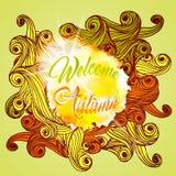 Välkomna Autumn Lettering Seasonal Banner Postcard Fotografering för Bildbyråer