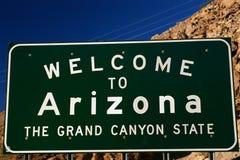 Välkomna till Arizona vägmärket Royaltyfri Foto
