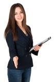 Välkomnande kvinna som ger en handskakning Royaltyfri Fotografi