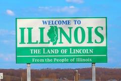 Välkomnande till det Illinois tecknet Royaltyfri Bild