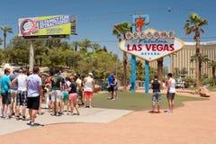 Välkomnande till det Las Vegas tecknet Arkivbild