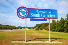 Välkomnande till det South Carolina tecknet Royaltyfri Bild