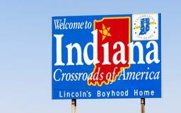 Välkomnande till Indiana Sign Crossroads av Amerika Royaltyfri Fotografi