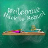 Välkomnande tillbaka till skolamalldesignen plus EPS10 Arkivbilder
