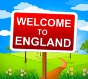 Välkomnandet till England visar Förenade kungariket och hälsningar Arkivfoto