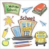 Välkomnandet tillbaka till skolaklassrumet levererar anteckningsbokklotter Arkivbilder