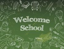 Välkomnandet tillbaka till skolaklassrumet levererar anteckningsbokklotter Royaltyfri Bild