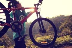 Vélo de montagne d'équitation sur le procès de forêt Image stock