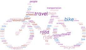 Vélo, illustration de nuage d'étiquette Photo stock