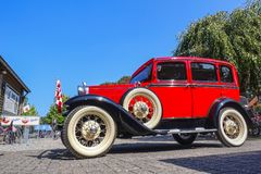 Ford model A, 1931, old-timer car. VLODROP, NETHERLANDS - AUGUST 19, 2018: Old-timer car Ford Model A, 1931, parking on a public parking spot stock photography