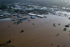Vloed 2011 van Brisbane de LuchtMarkten van Rocklea van de Mening & Royalty-vrije Stock Foto's
