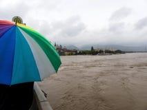 Vloed in 2013, linz, Oostenrijk Stock Foto's