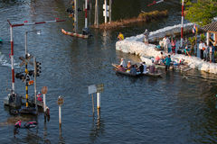 Vloed in Bangkok november 2011 Royalty-vrije Stock Foto