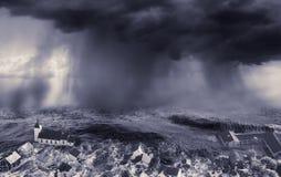 Vloed in de stad stock afbeeldingen