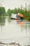 Vloed in Polen - Silesië, Zabrze, rivier Klodnica Stock Afbeelding