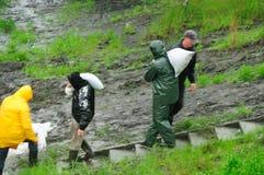 Vloed in Polen - Silesië, Zabrze, rivier Klodnica Stock Foto's