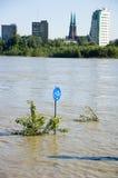 Vloed in Polen - Warshau Royalty-vrije Stock Foto