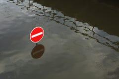 Vloed in Usti-nad Labem, Tsjechische Republiek Royalty-vrije Stock Foto