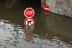 Vloed in Usti-nad Labem, Tsjechische Republiek Royalty-vrije Stock Afbeelding