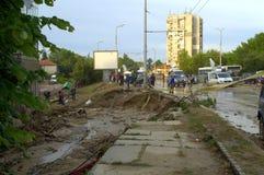 Vloed in Varna Bulgarije 19 Juni Stock Afbeelding