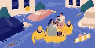 Vloedoverlevenden die in opblaasbare boot gered door paar redders zitten Familie gered van overstroomd gebied of stad Mensen stock illustratie