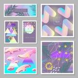 Vloeibare Abstracte Geplaatste Malplaatjes De vloeibare Kleuren met Gouden schitteren Geometrische Elementen Tropische Affiche, B Royalty-vrije Stock Fotografie