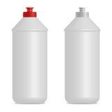 Vloeibare cilindrische de flessen realistische spot van de schotelwas omhoog Rode en grijze kappen Lege plaats voor etiketontwerp Stock Fotografie