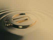 Vloeibare gouden euro Stock Foto