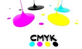 Vloeibare inkt CMYK Stock Afbeeldingen