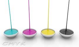 Vloeibare inkt CMYK Royalty-vrije Stock Foto's