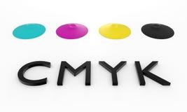 Vloeibare inkt CMYK Stock Foto's