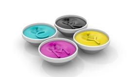 Vloeibare inkt CMYK met dalingen Royalty-vrije Stock Afbeeldingen