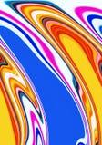 Vloeibare meetkunde in roze blauwe violette gele tinten, abstracte achtergrond, fantasie stock illustratie