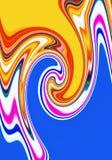 Vloeibare speelse meetkunde in roze blauwe violette gele tinten, abstracte achtergrond, fantasie royalty-vrije illustratie
