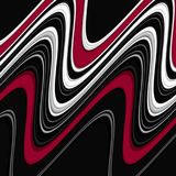 Vloeibare speelse meetkunde in zwarte rode witte tinten, abstracte achtergrond, fantasie vector illustratie