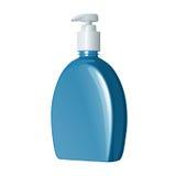 Vloeibare zeep in blauwe plastic fles met witte automaat Royalty-vrije Stock Afbeelding