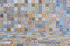 Vloer en muurtegelswijnoogst ceramisch stock illustratie