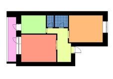 Vloerplan één slaapkamerflat in heldere kleuren Stock Afbeeldingen