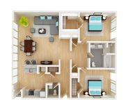 Vloerplan van een huis hoogste mening Stock Afbeeldingen