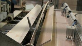Vloerplankproductie in de fabriek stock video