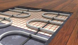 Vloerverwarmingssysteem onder houten vloer 3D teruggegeven illustratie royalty-vrije illustratie