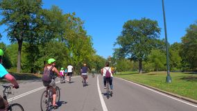 Vlog biking in central park stock video footage