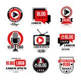 Vlog and blog logo design set, video blogging badges vector Illustrations. On a white background Stock Image