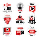 Vlog and blog original logo design set, video blogging or video channel badges vector Illustrations. On a white background Royalty Free Stock Photography