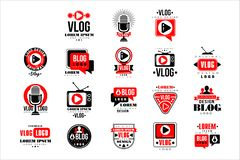 Vlog and blog original logo design set, video blogging or video channel badges vector Illustrations. On a white background vector illustration