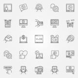 Vlog icons set Royalty Free Stock Photos