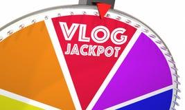 Vlog najwyższej wygrany Wideo blog Robi pieniądze teleturnieju kołu 3d Illustrati ilustracja wektor
