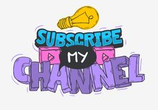 Vlog Video Blog Related Social Media Themed Cartoon Style Design Subscribe My Channel Call To Action Vector Graphic.  royalty free illustration